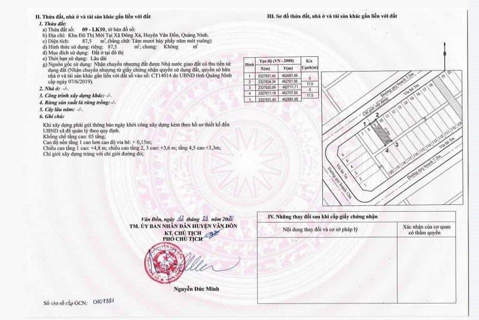 giấy chứng nhận sở hữu Phương Đông Vân Đồn