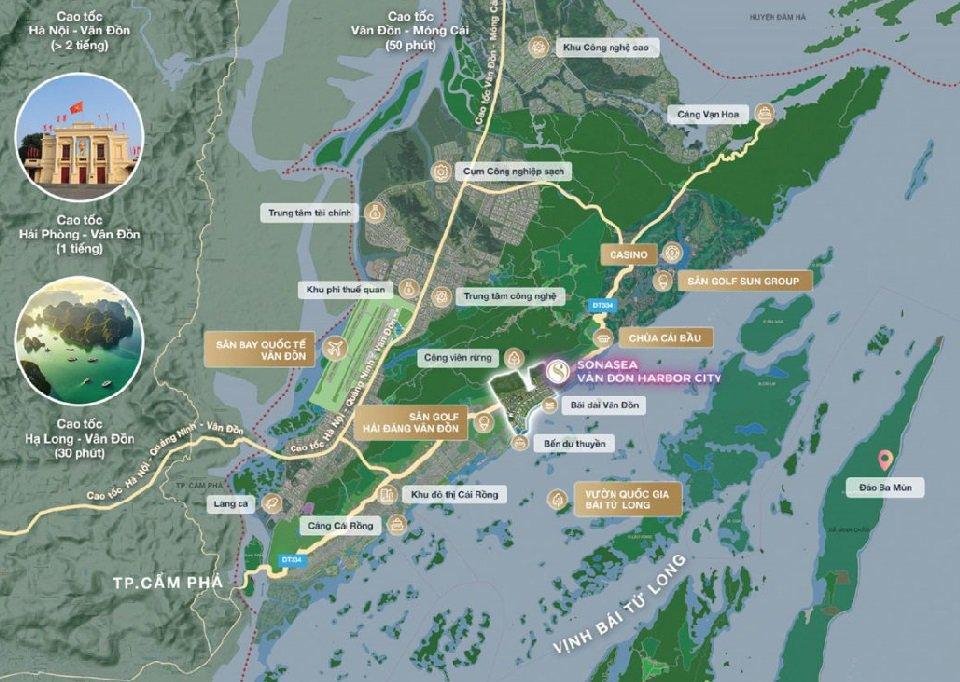 Vị trí dự án Sonasea Vân Đồn Harbor City
